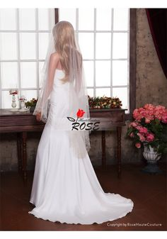 Sheer Embroidery Wedding Veil Tulle Bridal Veil No Comb Style BV054 - Wedding Veil