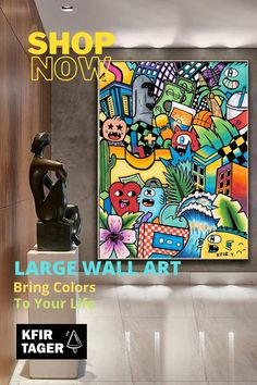 """Colorful wall art canvas, Extra large wall art, graffiti style art canvas, large pop art, graffiti art original, Restaurant Bar Decor, Office Artwork, Summer Wall Art, Nursery Colorful Wall Art.Take a tropical road trip with the """"Art In The Street"""" colorful wall art. This colorful and whimsical art print of street-art-style illustration will add a young and modern vibe to any space or blank stretch of wall. Brighten up your walls or those of others! Modern Art For Sale, Modern Pop Art, Office Artwork, Office Wall Art, Cubist Paintings, Graffiti Wall Art, Colorful Wall Art, Extra Large Wall Art, Modern Artists"""