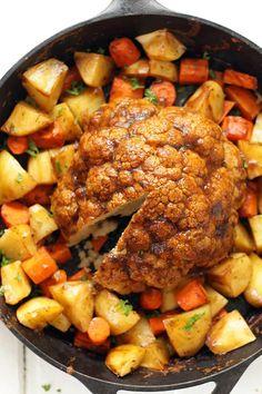 Whole Roasted Cauliflower with Gravy - Karissa's Vegan Kitchen
