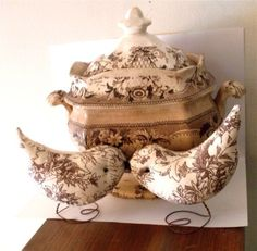 brown transferware toile