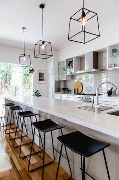 30 Best Kitchen Lighting Fixtures & Ideas for Your New Kitchen Best Kitchen Lighting, Kitchen Lighting Design, Kitchen Island Lighting, Kitchen Lighting Fixtures, Kitchen Pendant Lighting, Kitchen Pendants, Home Lighting, Lighting Ideas, Island Kitchen