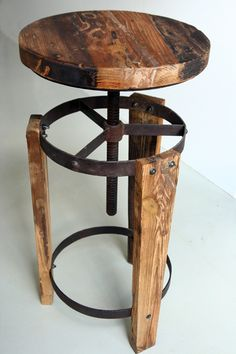 Reclaimed wood stool... I think I would add some cushions to them