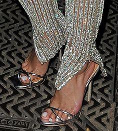 Nicole Scherzinger in silver sandals