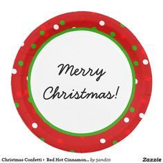 Christmas Confetti •  Red Hot Cinnamon Sprinkles 9 Inch Paper Plate
