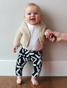 Hand Printed Kids Leggings in White on Black by thiefandbanditkids