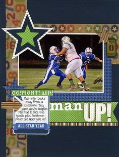 Man Up Layout by Laina Lamb using Jillibean Soup\'s Game Day Chili papers and pea pod parts, Watermelon Gazpacho papers, white corrugated sheets and alphas, and Hearty Barley stickers (via the Jillibean Soup blog).