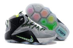 "401f0b1268157f Cheap Nike LeBron 12 ""Dunk Force"" Wolf Grey Black-Electric Green"