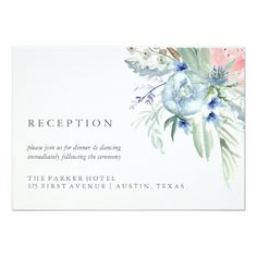 Pink Wedding RSVP Cards Blue and Pink Peony Watercolor Wedding Reception Card
