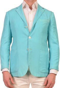 KITON Napoli Blue Cashmere-Silk Garment Dyed Soft Jacket US 38 NEW EU 48