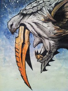 Barioth Art by Megan Jenner (MegandotJenner) Monster Hunter Games, Monster Hunter Series, Magical Creatures, Fantasy Creatures, Cry Anime, Anime Art, Hunter Tattoo, Girls Anime, Creature Concept