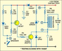 Fig. 1: Circuit diagram of ignition for old cars