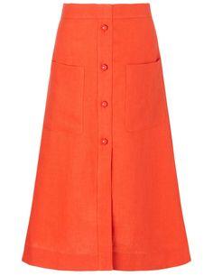 Campari Red Linen A-Line Skirt | Isa Arfen | Avenue32