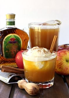 WHISKY APPLE PIE FLOAT == c apple cider 1 large scoop vanilla ice cream ounces Crown Royal Apple ½ ounce vanilla vodka ¼ t cinnamon (plus more for garnish) ============= Apple Crown Royal Drinks, Crown Royal Apple Recipes, Christmas Drinks, Holiday Drinks, Summer Drinks, Halloween Drinks, Refreshing Drinks, Christmas Eve, Apple Pie Drink