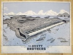 2016 The Avett Brothers - Portland Silkscreen Concert Poster by Neal Williams