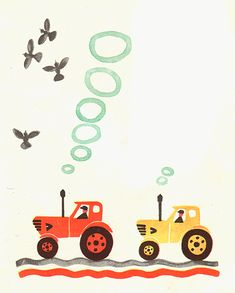 Soviet children book illustration. Oh how I love this illustration! Makes me want to start watercolor painting again. Michael would love a tractor room.