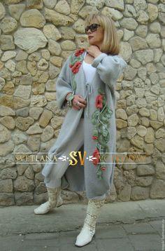 """Верхняя одежда ручной работы. Ярмарка Мастеров - ручная работа. Купить Пальто вязаное """"Маковая сказка"""" демисезонное. Handmade. Серый"""