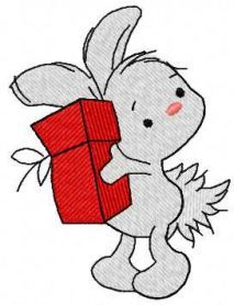 Little bunny with Christmas gift free embroidery design. Machine embroidery design. www.embroideres.com