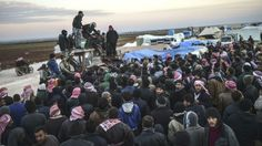 Tens of thousands of Syrians flee Aleppo to Turkish border 02.06.16 Tens of thousands of Syrians remained stranded on the Turkish border Saturday after fleeing a major Russian-backed regime offensive near Aleppo where a new humanitarian disaster appeared to be unfolding.