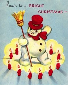 Vintage Christmas card- dancing snowman