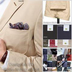 Brisbane Anzug (nach Ihren Wünschen gefertigt) alle Größen, 5 Farben, Baumwolle | eBay  zu finden in unserem eBay-Shop unter http://stores.ebay.de/jkkonfektion  In unserem Shop bieten wir Ihnen die größte Auswahl an Anzügen und Sakkos die Sie in Ebay finden werden. Sie haben die Möglichkeit den Stoff, den Schnitt, die Form, alle Ausstattungsdetails für Ihren Anzug oder Ihr Sakko selbst zu wählen. In jeder Größe! Ganz individuell - einfach einzigartig!