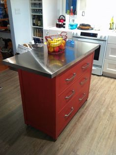 IKEA Hemnes Kitchen Island - nice option to customize an island with drawers.  Also, good used as a bar, outdoor prep (think BBQ) or in a closet, as a creative work area for painting and keeping supplies in drawers away from elements.  Endless possibilities...