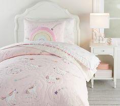 Girls Comforter Sets, Kids Bedding Sets, Toddler Comforter, Baby Bedding, Unicorn Kids, Rainbow Unicorn, Unicorn Bed Set, Pottery Barn Kids, Rainbow Bedding