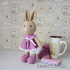 This is a crochet pattern (PDF file) NOT a finished doll you see on the photos! This pattern is available in: English (US crochet terms) German Russian SKILL LEVEL: INTERMEDIATE CROCHET PATTERN BUNNY – size cm 31 (in 12), if using sport weight yarn (12 wpi, YarnArt Jeans or Alize