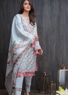 Malhar Lawn Collection 2019 by Shariq Textiles - Malhar Online Store Designer Party Wear Dresses, Kurti Designs Party Wear, Indian Designer Outfits, Indian Outfits, Pakistani Fashion Casual, Pakistani Dresses Casual, Pakistani Dress Design, Pakistani Bridal, Kurta Designs Women