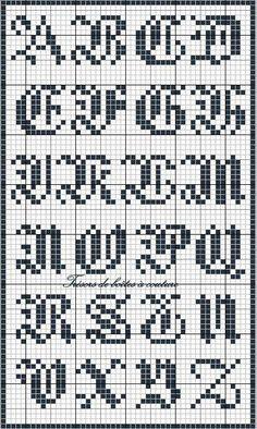 embroidery alphabets bracelets Sajou 3 gothic script alphabet chart for cross stitch and needlepoint - Cross Stitch Alphabet Patterns, Alphabet Charts, Embroidery Alphabet, Cross Stitch Letters, Cross Stitch Charts, Cross Stitch Designs, Stitch Patterns, Crochet Alphabet, Cross Stitching