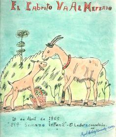 """Cartell il·lustrat per Miguel Martínez Fernández, per informar de l'hora del conte programada pel dia 10 d'abril de 1965 en la biblioteca Pare Miquel d'Esplugues. El títol de la narració fou: """"El cabrito va al mercado"""""""