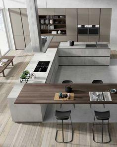 Kitchen Room Design, Luxury Kitchen Design, Kitchen Cabinet Design, Luxury Kitchens, Home Decor Kitchen, Modern House Design, Interior Design Kitchen, Home Kitchens, Kitchen Modern