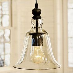 49.60$  Buy now - http://ali8qy.shopchina.info/go.php?t=32574667099 - Modern Hanging Industrial clear glass horn Pendant Lamps Lamparas De Techo Colgante kitchen Lamp  #bestbuy