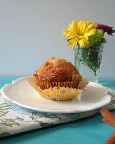 Pear Crumble Muffins - A light, moist, healthy muffin chock full of pears and topped with a sweet crumble topping.