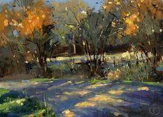 """A bend in the Road (£99)"" by Nigel Fletcher - www.nigelfletcher.co.uk - lovely light piercing through the trees"