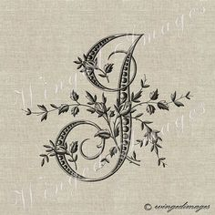 Antique French Monogram Letter I Instant Download by WingedImages
