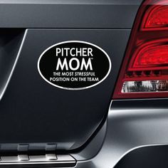 Pitcher Mom Car Magnet. With a funny pitcher mom magnet on your car, you'll show everyone that you're a proud softball or baseball pitcher mom!