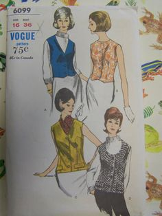UNCUT Vintage 1960s Vogue 6099 Misses' VEST sz 16 b 38  womens pattern by RaggsPatternStash on Etsy