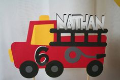 Birthday Cake Topper -  Personalized Fire Truck, Fire Engine, Fireman, Firefighter Theme. $10.00, via Etsy.