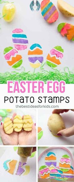 Easter Paper Plate Basket - The Best Ideas for Kids Love this Easter Paper Plate Basket with potato stamped Easter eggs! This is a perfect Easter craft for kids. #easter #eastercraft #kidscraft #papercraft via @bestideaskids<br> Make this easy Easter paper plate basket and fill it with potato stamped Easter eggs! This is a fun Easter craft activity for kids of all ages! Quick Crafts, Fun Diy Crafts, Egg Crafts, Baby Crafts, Easter Crafts, Creative Crafts, Simple Crafts, Toddler Crafts, Creative Ideas