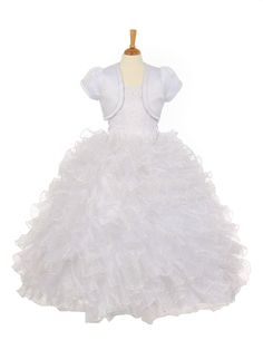 Girls Dress Style 2015 -  WHITE Halter Dress with Sequin Accents and Organza Ruffle Skirt  Stunning halter neck dress with detailed sequin top and sparkly ruffle organza skirt. Corset on the sides to adjust for size. Matching jacket is included. The dress is fully lined and the skirt has additional netting underneath for a fuller look.  http://www.flowergirldressforless.com/mm5/merchant.mvc?Screen=PROD&Product_Code=RK_2015&Store_Code=Flower-Girl&Category_Code=White