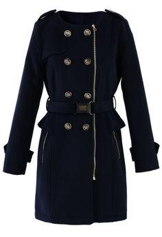 Navy Peplum Coat//