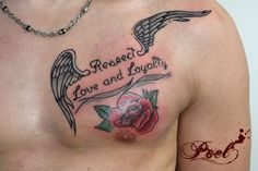 Poel tattooer Wings and rose for Respect Love and Loyalty
