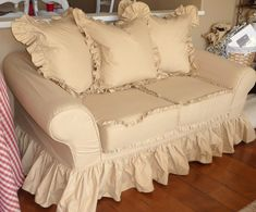 Cottage by Design with Trish Banner: Super ruffly sofa slipcovers