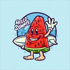 Watermelon Illustration, Tiger Illustration, Illustration Story, Character Illustration, Turtle Painting, Mascot Design, Cartoon Sketches, Surf Art, Cute Characters