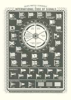 SIGNALS  Printed in a dark grey this screen print shows the International Code of Signals and depicts a 24 hour clock detailing a ships watch schedule.  -Designed and printed by James Brown in East London.  -One colour screen print  -Printed on 350gsm off white paper.  -Open edition.  -Signed and dated.  -Paper size. 297 x 420mm (A3)