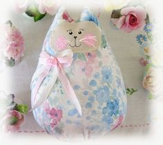 Cat  Doll 6 inch Free Standing Kitty Blue/White by CharlotteStyle, $14.00