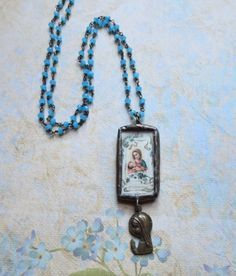 Blessed Virgin Mary and Baby Jesus Image Soldered by MiladyLinden