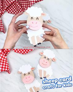 Give Mom and Grandma this cute sheep Mother's Day card! It's a simple craft that's easy for kids to make thanks to our free printable template. Make at home or in the classroom with preschool, kindergarten and elementary children. Animal Crafts For Kids, Mothers Day Crafts For Kids, Fall Crafts For Kids, Toddler Crafts, Preschool Crafts, Projects For Kids, Eid Crafts, Easter Crafts, Halloween Crafts
