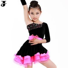 Pas cher Robe de danse latine enfants Rose / jaune enfants de la concurrence latine robe filles Costumes de danse pour Cha Cha / Rumba / Samba / Ballet DQ4046, Acheter ballet de qualité directement des fournisseurs de Chine: Juste danse ---- l'accent sur la création professionnel de danse marque! La danse robe de p