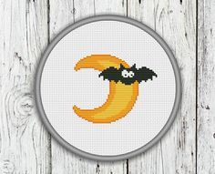 Moon and Bat Counted Cross Stitch Pattern Halloween
